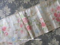 19世紀 アンティーク シルク製  ぼかし織り 花模様 幅広リボン 1.75m