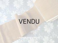 19世紀末 アンティーク シルク製 幅広 ベルベットのリボン キャメル色 ダブルフェイス 4.5m 幅11cm