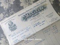 1922年 アンティーク パフュームリーの納品書  - MONPELAS PARIS -