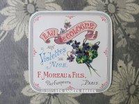 アンティーク 菫のオードコロンのラベル EAU DE COLOGNE AUX VIOLETTES DE NICE - F.MOREAU & FILS PARIS -