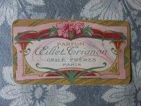 1910年 アンティーク カーネーションのパフュームカード OEILLET TRIANON - GELLE FRERES -