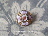 アンティーク エナメル ボタン 薔薇 ハンドペイント 薄紫 & ゴールドレリーフ 13mm