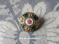 アンティーク エナメル ボタン 薔薇 ハンドペイント グリーン & ゴールドレリーフ 13mm