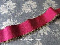 1920年代 アンティーク  シルク製 グログランリボン 金糸の縁取り 4cm幅
