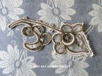 19世紀末 アンティーク  手編みのレース & メタル刺繍 のモチーフ 花