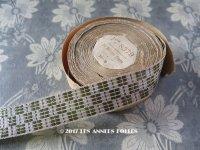 1920年代 アンティーク  メタル糸のリボン シルバー&グリーン 9.8m PON 8379 N 5 Hte NOUVEAUTE EMERAUDE 239