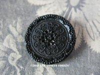 1900年代 アンティーク フレンチジェットのボタン 花模様 2.6cm