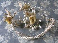 1900年代 アンティーク 薔薇のワックスフラワーのヘッドリース & ブローチ ウェディング 結婚式 ティアラ