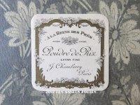 アンティーク 草花のパウダーボックスのラベル A LA REINE DES PRES- J.CHAMBERRY PARIS -