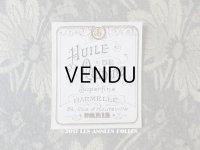 アンティーク パフュームラベル HUILE DE QUININE SUPERFINE  - HARMELLE PARIS -