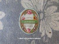 アンティーク 薔薇とパンジーのパフュームラベル ESSENCE AMBRE PARFUM NATUREL