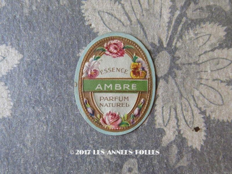 画像1: アンティーク 薔薇とパンジーのパフュームラベル ESSENCE AMBRE PARFUM NATUREL