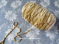 1920年代 アンティーク  刺繍用 シルクベルベットの紐  シルク製シェニール糸 キャメル 20m シュニーユ糸