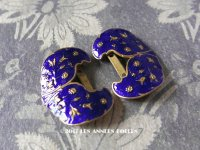 19世紀 アンティーク シューバックル 青紫のエナメル シューズ用バックル  2点セット