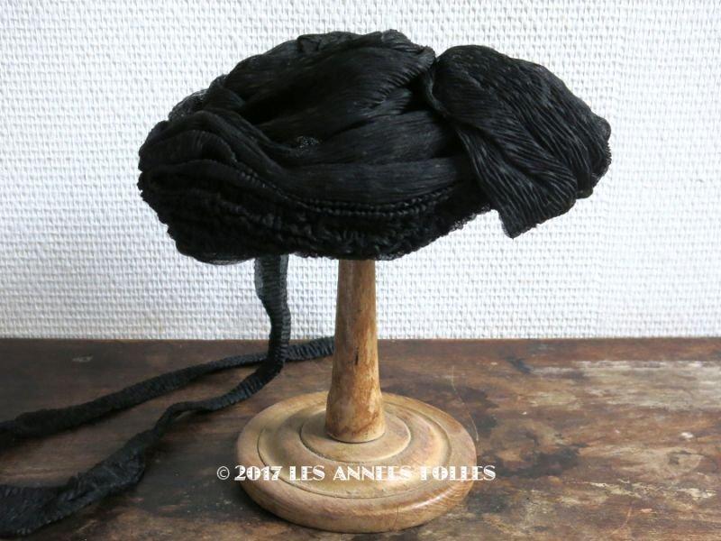 画像1: 1900年代 アンティーク 帽子 クレープ素材