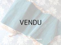 19世紀末 アンティーク シルク製 幅広 ベルベットのリボン ブルーグリーン ダブルフェイス 1.9m 幅16cm