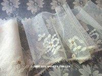 1930年代 アンティーク 花模様の刺繍入り 幅広 チュールレース