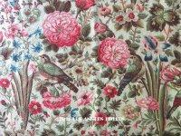 19世紀 アンティーク ファブリック 小鳥と草花