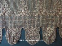 1910年代 アンティーク  花模様の刺繍入り チュールレース 胡桃色