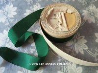 1900年代 アンティーク シルク製 グログランリボン 深緑 5.3m PON 685 N 5 COLORIS 592