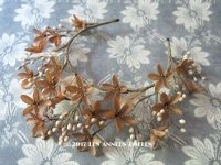 1900年代 アンティーク 秋色 ワックスフラワーのヘッドリース ウェディング 結婚式 ティアラ オレンジブロッサム