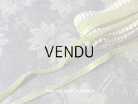 19世紀末 アンティーク シルク製 ベルベット&サテンリボン 5mm幅 ダブルフェイス 5.9m 若草色
