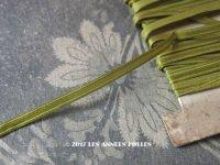 19世紀末 アンティーク シルク製 リボン 極細 4mm幅 オリーブグリーン