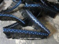 19世紀末 アンティーク シルク製 フリンジ付 トリム 黒&青&シルバー ブレード