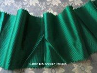 1900年代 アンティーク シルク製 幅広 グログランリボン ピコット付 グリーン 2.8m