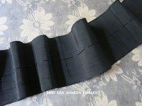 19世紀末 アンティーク シルク製 ピコットリボン 黒のライン入り 0.65m