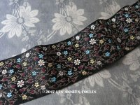 1900年代 アンティーク シルク製 ジャガード織 リボン 花模様 142cm 黒