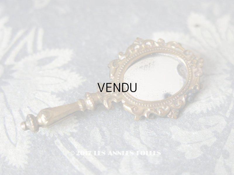 画像1: アンティーク 手鏡型の小さなブローチ ゴールド