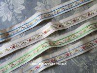 19世紀 アンティーク シルク製 リボン ジャガード織 花模様