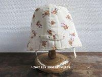 未使用 1930年代 アンティーク  ラベル付 子供用帽子 花模様 クロッシェ リボン付
