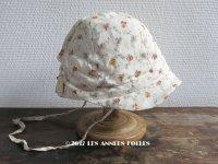 未使用 1930年代 アンティーク  ラベル付 子供用帽子 花模様 クロッシェ