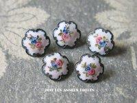 19世紀末 アンティーク  エナメル ボタン 薔薇 2ピースのセット ハンドペイント ピンク&ブルー 11mm