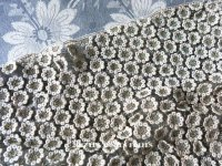 19世紀末 アンティーク メタル&コットンクロシェのレース 小さな花模様  30×80cm