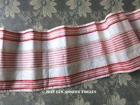 19世紀末 アンティーク シルク製 幅広 リボン 赤 & 白のストライプ柄  175cm