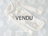 1900年代 アンティーク シルク製 ファンのポシェット  リボン刺繍 花模様 リボンワーク