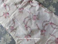 アンティーク シルク製 ファブリック 薔薇のガーランド ぼかし織り