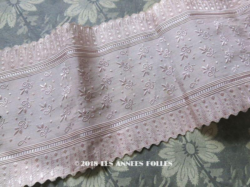 画像1: 19世紀末 アンティーク シルク製 ジャガード織 幅広リボン スモーキーパープル  69cm