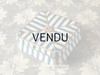 19世紀 アンティーク ナポレオン3世時代 お菓子箱 ブルーのストライプ 脚付き 木箱 ドラジェ & チョコレート
