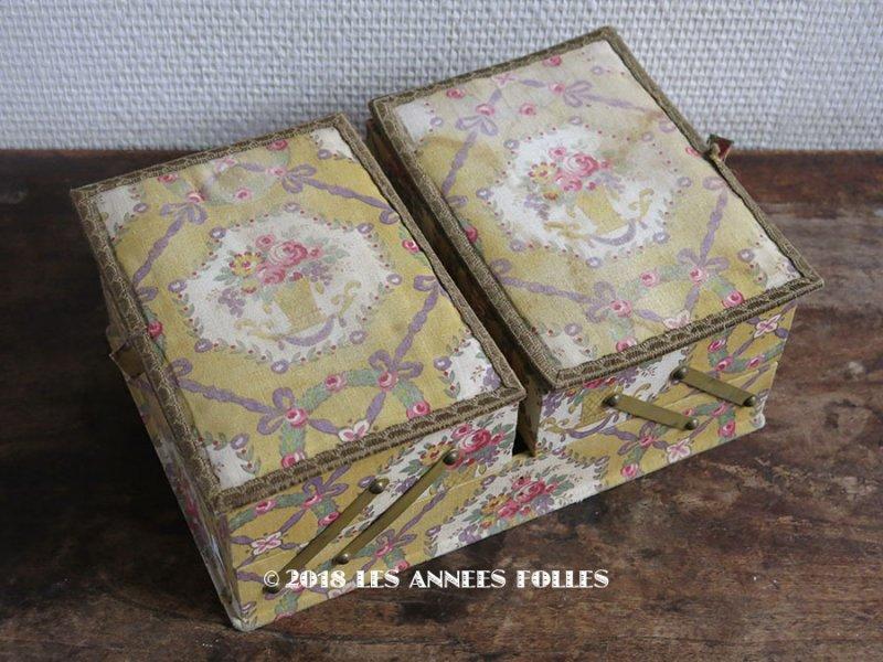 画像1: 1920年代 アンティーク 薔薇の花かご カルトナージュボックス 裁縫箱
