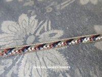 1900年 アンティーク  極細 トリム メタル糸 & トリコロール 5mm幅