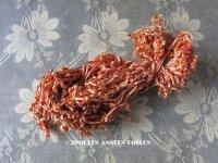 1920年代 アンティーク  刺繍用 シルクベルベットの紐  シルク製 レンガ色 シェニール糸 シュニーユ糸