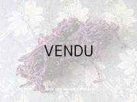 1920年代 アンティーク  刺繍用 シルクベルベットの紐  シルク製 深紫 シェニール糸 シュニーユ糸
