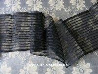 1900年代 アンティーク シルク製オーガンジー 幅広 リボン ストライプ