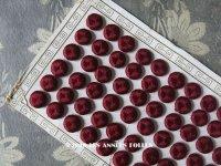 19世紀 アンティーク シルク製 くるみボタン 12mm 6ピースのセット ボルドー色