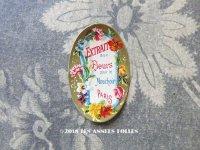 1900年代 アンティーク 小さなパフュームラベル 薔薇 EXTRAIT AUX FLEURS POUR LE MOUCHOIR PARIS