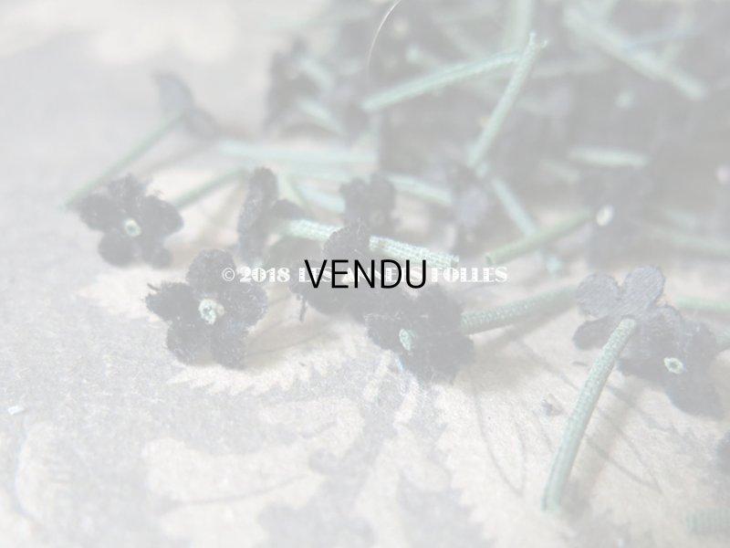 画像2: アンティーク コサージュ材料 勿忘草の花びらのセット 茎付き 黒